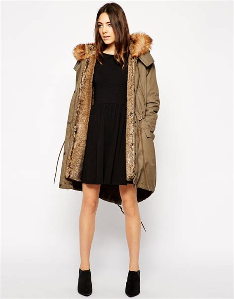 parka interieur fourrure femme asos parka with detachable faux fur lining in lyst