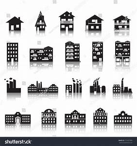 House Building Factory Palace Icons Set Stock Vector