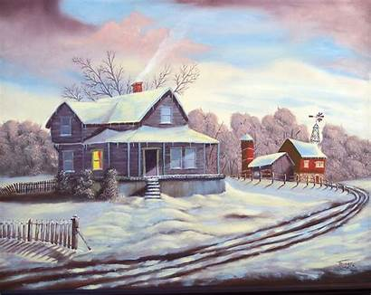 Snow Country Winter Painting Oil Village Scenes