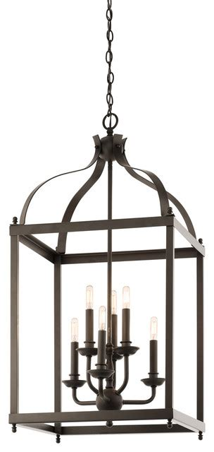 Transitional Chandeliers For Foyer by Kichler 42568oz Foyer Pendant Cage 6lt Transitional