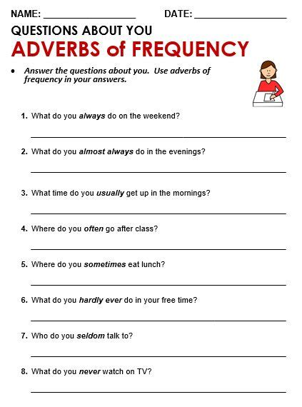 30 best adverbs of frequency images on pinterest adverbs english grammar and printable worksheets