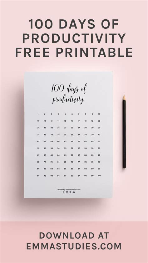 days  productivity calendar progress tracker