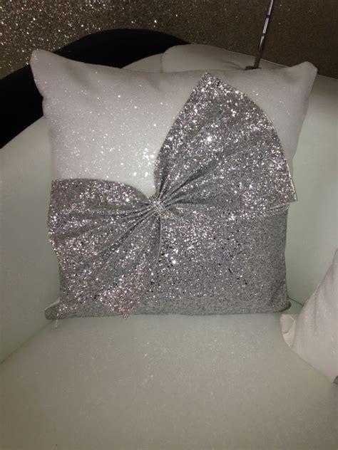 Sparkly Pillows by Snow White Silver Glitter Cushion Bow Cushion