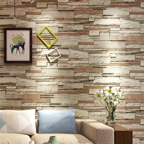 papel de parede wall paper retro irregular stone pattern