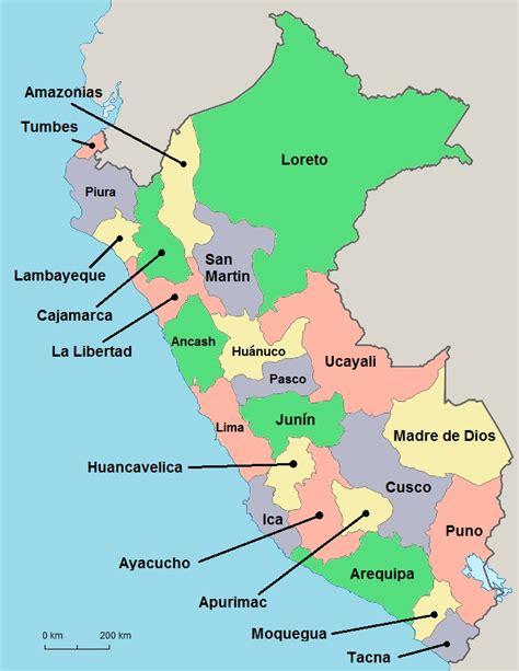 peru map regions   peru guide