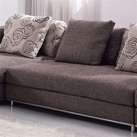 Contemporary Brown Fabric Sectional Sofa Set W Modern