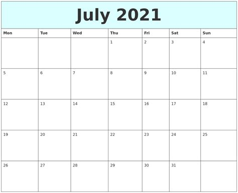 July August 2021 Calendar Mon To Fri