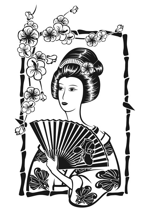 Japan geisha with fan - Japan Adult Coloring Pages