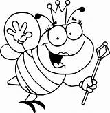 Queen Bee Coloring Pages Printable Clipart Cartoon Bumble sketch template