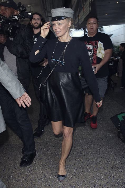 pamela anderson arrives  lax leather celebrities