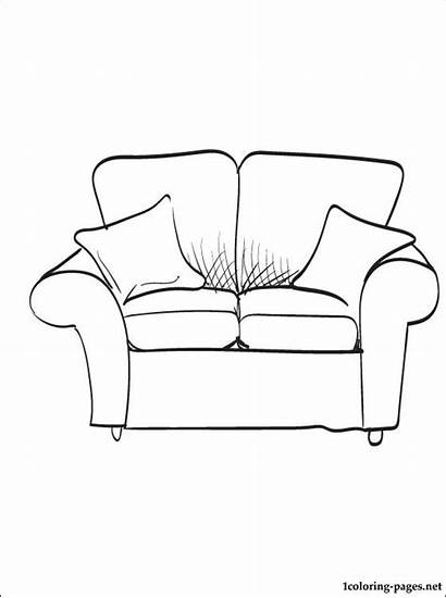 Coloring Sofa Furniture Pages Couch Ausmalbilder Settee