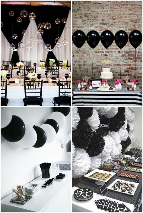 black and white party table centerpieces simple black and white party ideas pinteres