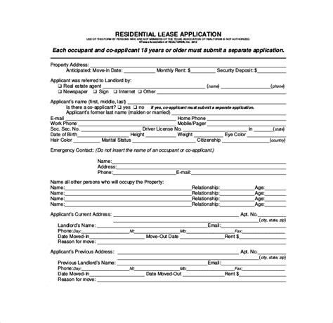 lease application form templates   word