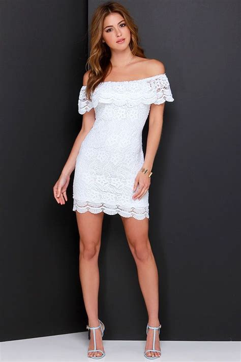 islands   stream white lace   shoulder dress