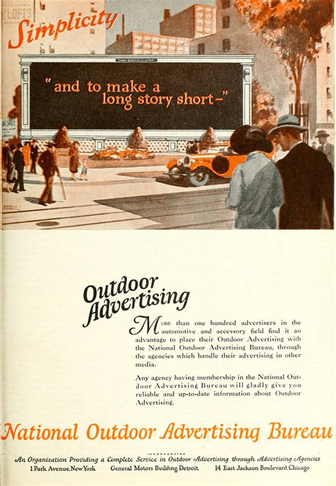 national outdoor advertising bureau 1926 ad simplicity to