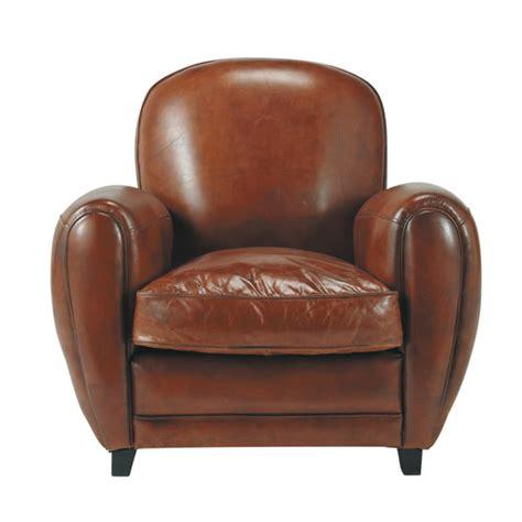 fauteuil club en cuir marron oxford maisons du monde