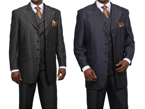 Men's Fashionable Denim Look Wool Feel Suit With Collared