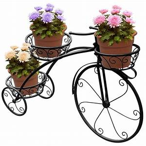 Ktaxon, 3-tier, Decorative, Bicycle, Metal, Plant, Stand, U0026, Flower, Pot, Holder, Black