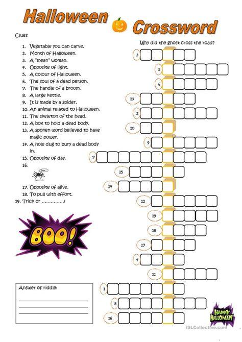 halloween crossword worksheet  esl printable