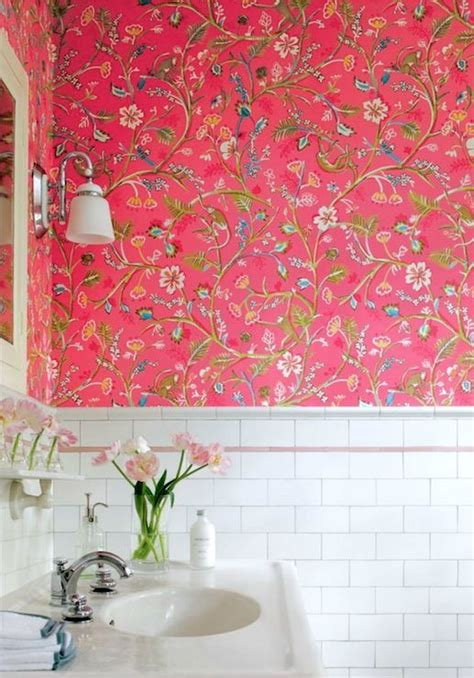 thibaut design bathrooms pink floral wallpaper pink