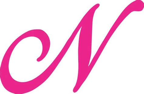 4.5in X 3in Pink Cursive N Monogram Sticker Fancy Vinyl