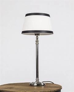 Lampenschirm Schwarz Weiß Gestreift : tischleuchte mit lampenschirm wei schwarz tischlampe verchromt h he 40 cm ~ Indierocktalk.com Haus und Dekorationen