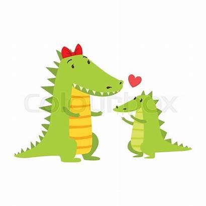 Crocodile Mom Cartoon Calf Animal Het Mamma