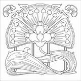 Nouveau Coloring Pages Patterns Deco Printable Mucha Pattern Flowers 1920s Adults Alphonse Colouring Embroidery Adult Flower Quilting Everfreecoloring Etc Di sketch template