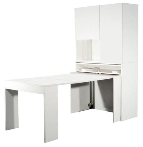 portes placard cuisine meuble avec table extensible genio blanc