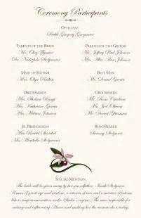 wording for wedding programs orchid wedding program exles wedding program wording wedding ceremony programs wedding