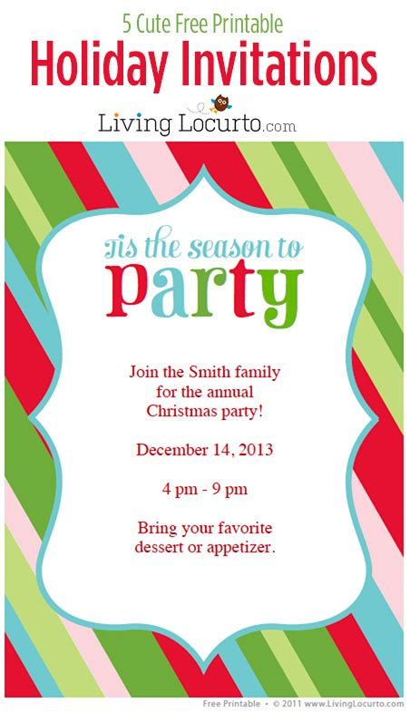 printable christmas invitations 5 free printable holiday party invitations