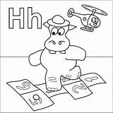 Coloring Hopscotch Letter Hat Hippo Helicopter Alphabet Coloringpages4u Coloringpages sketch template