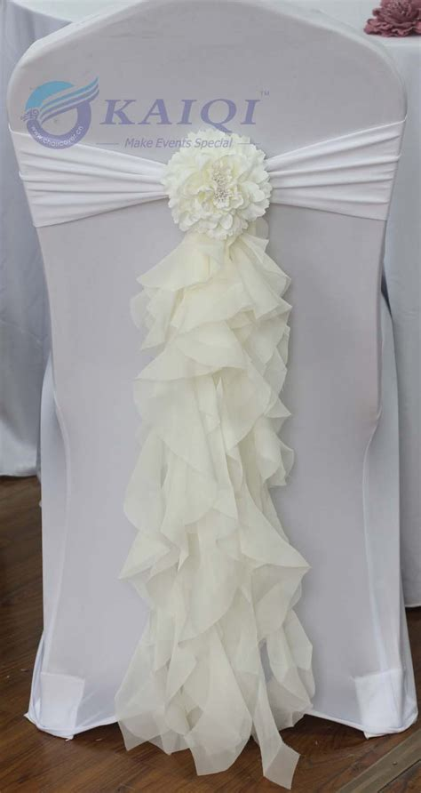 sale sale 10pcs ivory chiffon chair sash with tie
