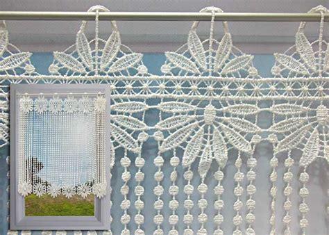 rideaux de cuisine brise bise brise bise macramé écru motif fleurs et perles rideau