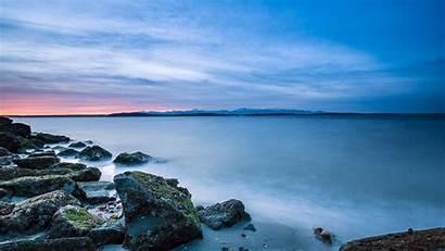 4k Ultra Desktop Lake Sunset Mountain Rocks