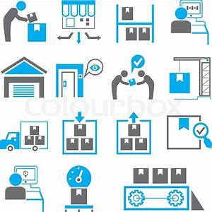 Manufacturing icons in blue color theme | Stock Vector ...