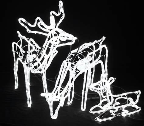 rope lighted christmas deer vickysun set of 3 animated led white 3d deer family motif rope lights with white