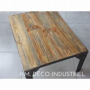 Meuble Acier Bois : table bois acier industriel bande transporteuse caoutchouc ~ Teatrodelosmanantiales.com Idées de Décoration