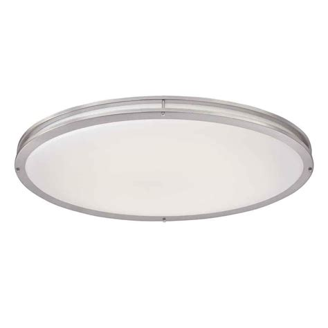 hton bay brushed nickel led oval flushmount dc032leda