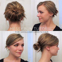 short hair messy bun hairstyle  women man