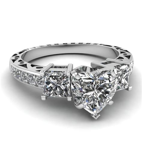 engagement rings white gold heart white diamond engagement wedding ring in prong pave