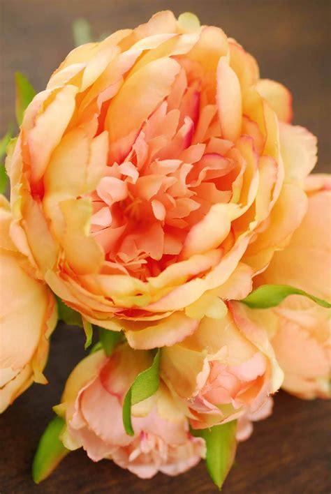 coral orange peony bouquet