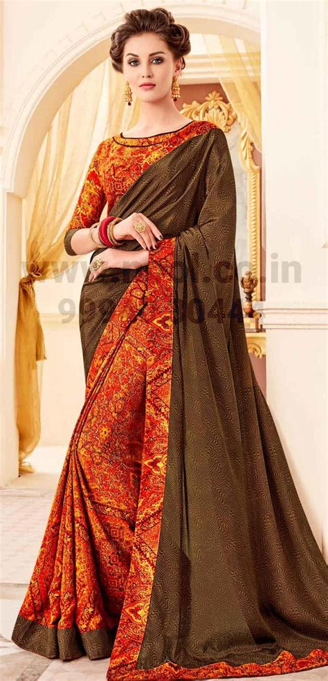 Sourbh women's bandhani printed saree with blouse piece. http://www.nool.co.in/product/sarees/crepe-silk-sharee-brown-geometric-printed-half-and-half ...