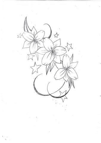 Lily Flowers n Stars Tattoo Design | Star tattoos, Flower