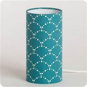 Lampe Bleu Canard : lampe poser design en tissu motif japonais bleu canard asahi bleu ~ Teatrodelosmanantiales.com Idées de Décoration