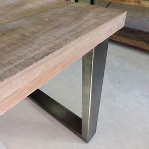 Pied De Table A Manger : table salle a manger plateau bois pieds metal maison boncolac ~ Teatrodelosmanantiales.com Idées de Décoration