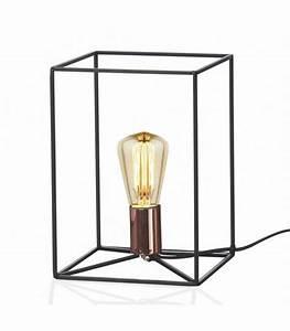 Lampe A Poser : lampe poser cube structure en m tal noir ~ Nature-et-papiers.com Idées de Décoration
