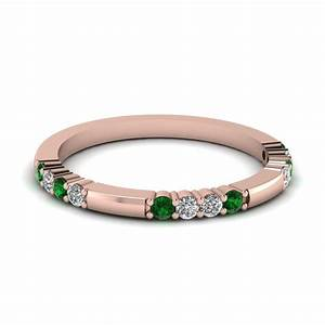 delicate diamond and emerald wedding band in 14k rose gold With emerald wedding band rings
