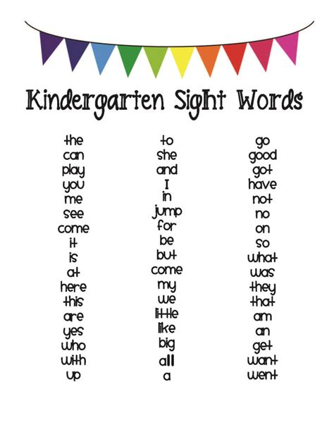 Kindergarten Sight Word List  Classroom  Pinterest  Kindergarten, Kindergarten Sight Words