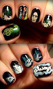 Severus Snape nail art | Nail art, Harry potter nail art ...